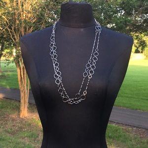 Express Long Silver Tone Circles Necklace